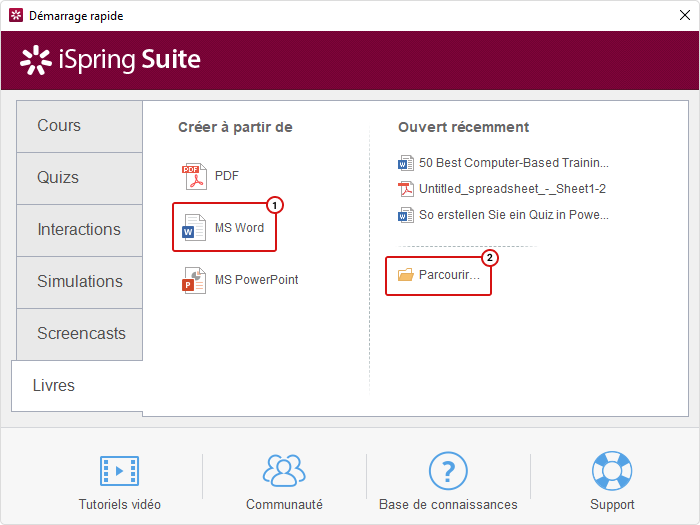 Barre d'outils Livres - iSpring Suite